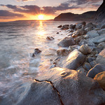 Photo of the Jurassic coast in Dorset at sunset with Golden Cap, England, UK